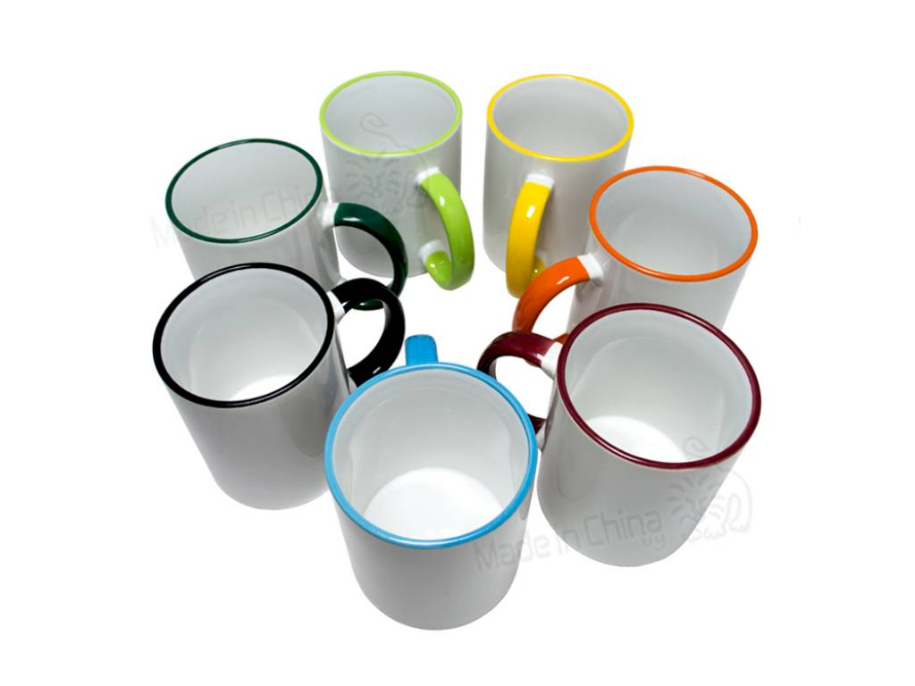 Tazas con Bordes de Color